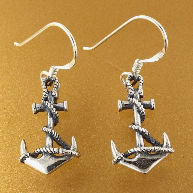 Sterling Silver Navy Anchor Dangling Earrings