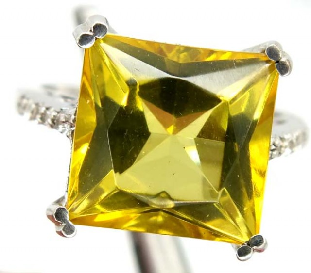 LEMON QUARTZ  SILVER RING  27.15 CTS  SIZE-7.50    RJ-335