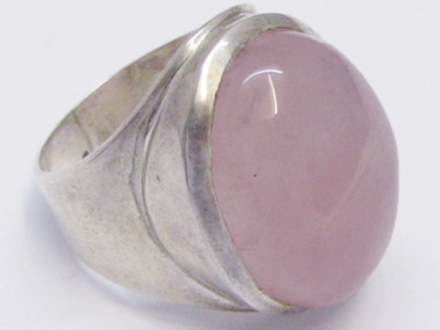 CAB  ROSE QUARTZ  RING SIZE   10.5   MJA338
