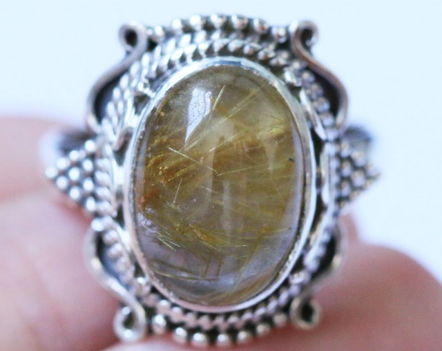 Ritilated Quartz in Silver Ring Size 8 BU1525