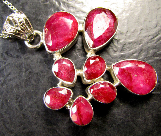 Huge cluster african ruby 925 silver pendant rt169 aloadofball Choice Image