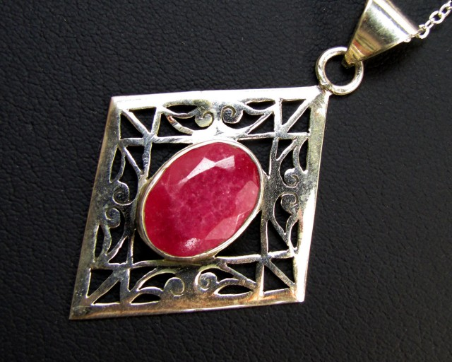 39 TCW AFRICAN   RUBY  SET SILVER PENDANT  GG 1124