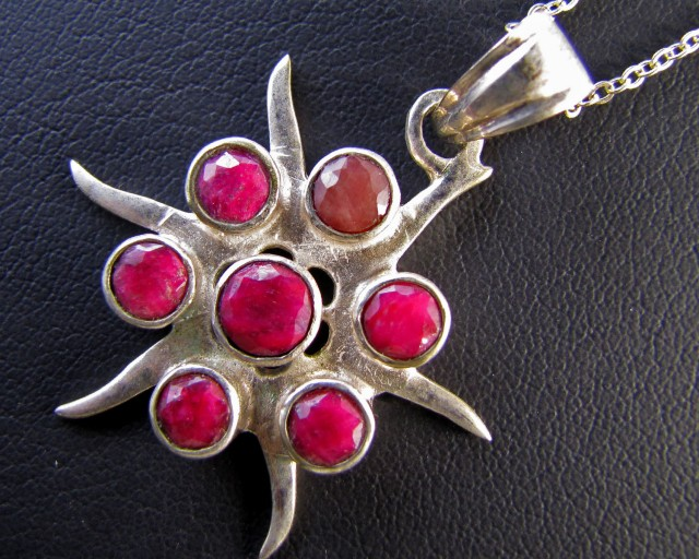61 Cts Cluster   Ruby set in Silver Pendant MJA 638