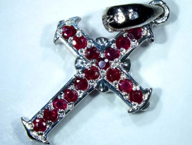 RUBY SILVER CROSS PENDANT 17.3 CTS  TBJ-526