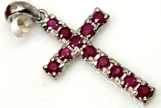 RUBY SILVER CROSS PENDANT 15 CTS  TBJ-716