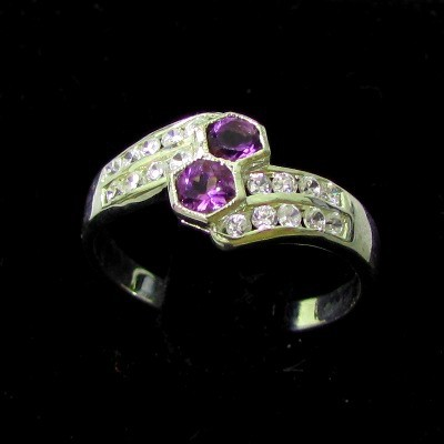 2.19g Natural Violet AMETHYST Ring Sz 7 Silver Jewelry
