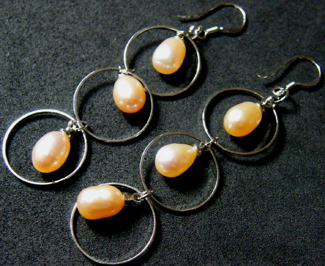 925 SILVER EARRING WITH PEARLS 26.1 CTS [3E01]