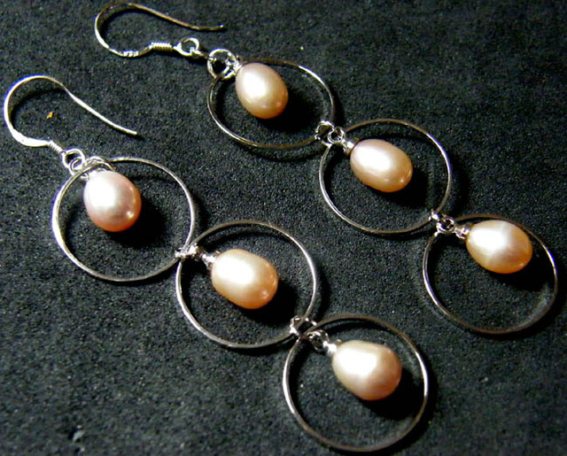 925 SILVER EARRING WITH PEARLS 22.3 CTS [3E04]