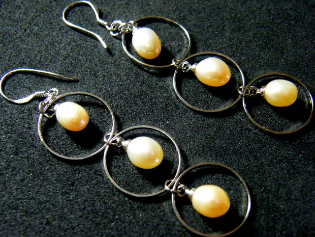 925 SILVER EARRING WITH PEARLS 23.4 CTS [3E08]