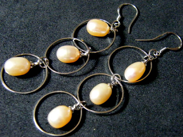 925 SILVER EARRING WITH PEARLS 24.9 CTS [3E10]