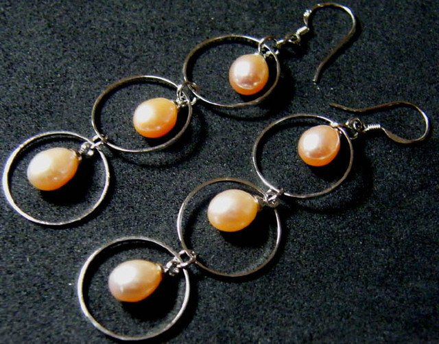 925 SILVER EARRING WITH PEARLS 23.6 CTS [3E12]