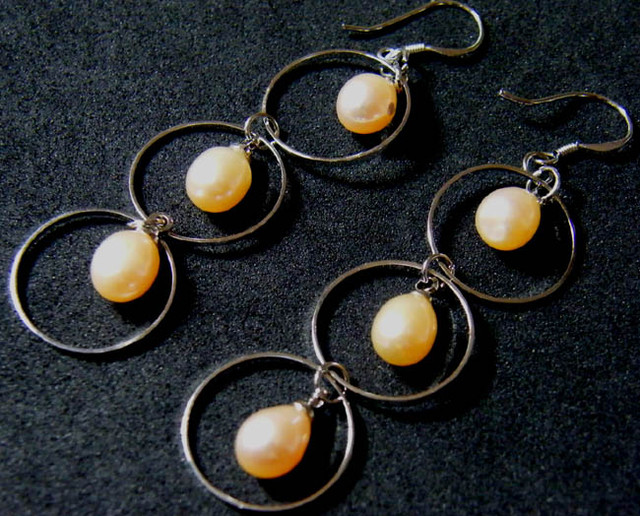 925 SILVER EARRING WITH PEARLS 23.3 CTS [3E14]