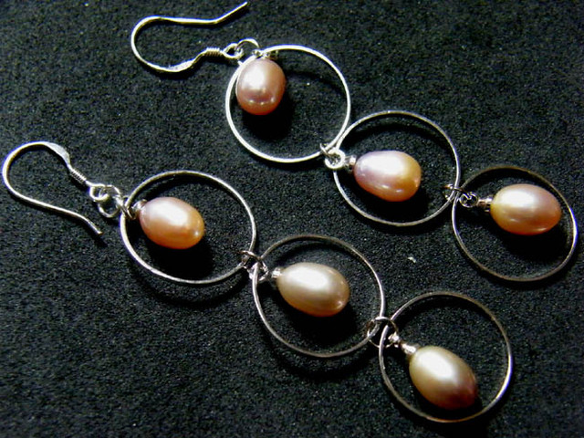 925 SILVER EARRING WITH PEARLS 24.6 CTS [3E17]