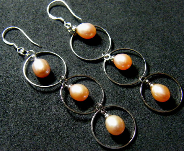 925 SILVER EARRING WITH PEARLS 22.3 CTS [3E07]