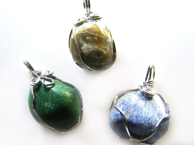 3  LAPIS N ADVENTURINE   WIRE WRAP   PENDANTS   AG 1144