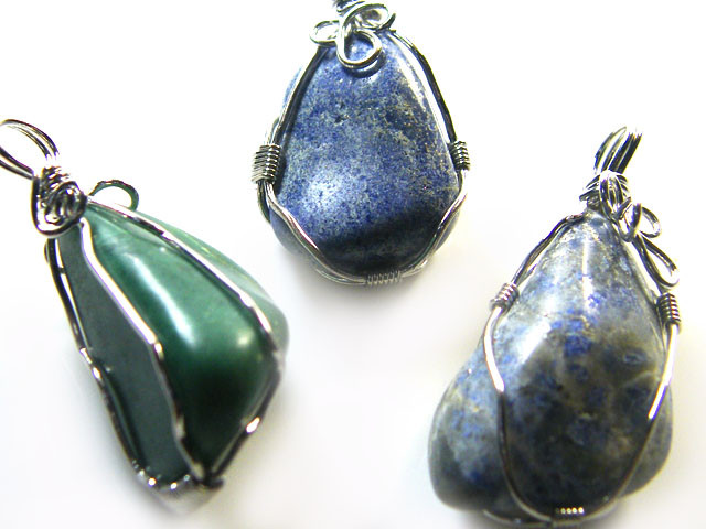 3  LAPIS N ADVENTURINE   WIRE WRAP   PENDANTS   AG 1145