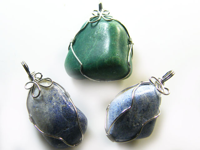 3  LAPIS N ADVENTURINE   WIRE WRAP   PENDANTS   AG 1146