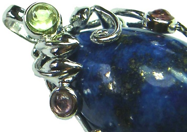 LAPIS  SILVER PENDANT  WITH 3 TOURMALINES 34 CTS [GT1232 ]