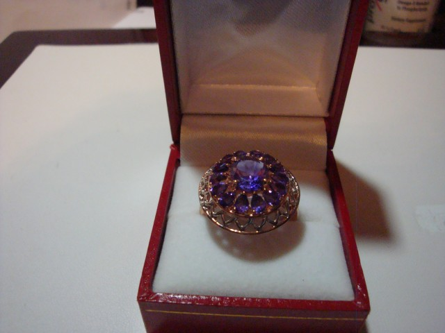NEW - 5.02CTW GENUINE AMETHYSTS IN COCKTAIL RING  SZ 8