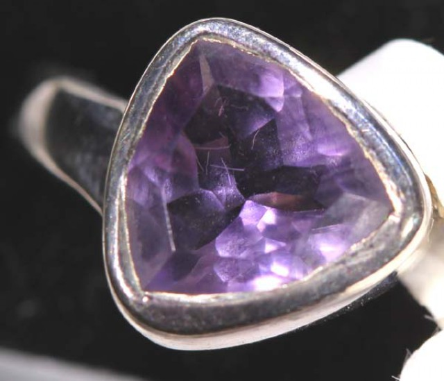 AMETHYST SILVER RING 22 CTS SIZE-6 TBJ-570