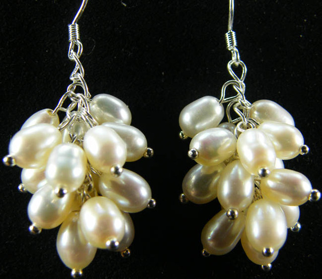 925 SILVER EARRING WITH PEARLS 41.7 CTS [CER10]