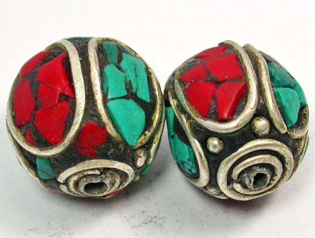 NEPAL BEAD PARCEL-CORAL TURQUOISE 39.35 CTS [SJ1517]