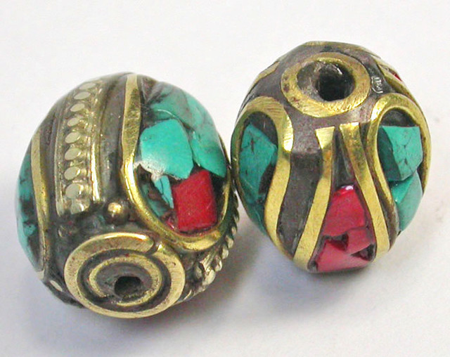 NEPAL BEAD PARCEL-CORAL TURQUOISE 32.15 CTS [SJ1529]