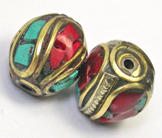 NEPAL BEAD PARCEL-CORAL TURQUOISE 34.60 CTS [SJ1535]