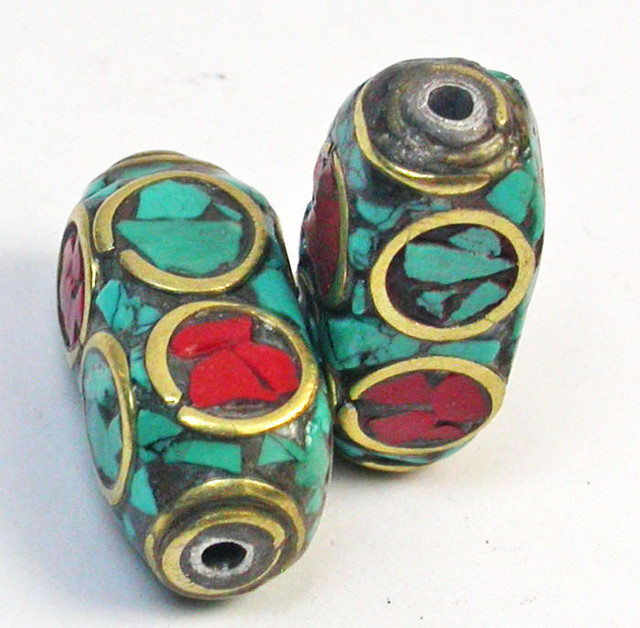 NEPAL BEAD PARCEL- CORAL TURQUOISE 26.85 CTS [SJ1566]