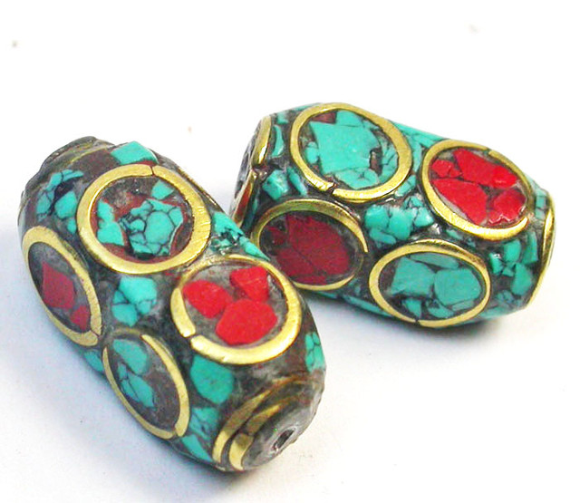 NEPAL BEAD PARCEL- CORAL TURQUOISE 25.90 CTS [SJ1571]