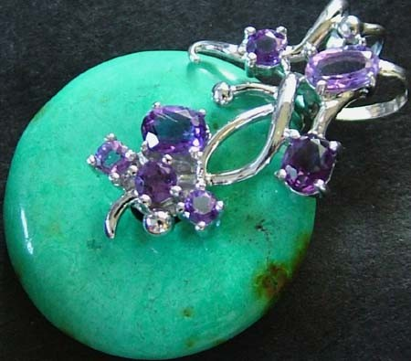 TURQUOISE PENDANT + 7 AMETHYST STONES CTS [GT13 ]