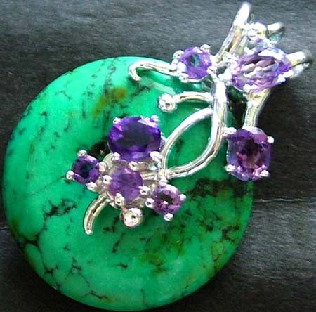 TURQUOISE PENDANT + 7 AMETHYST STONES 46.40 CTS [GT1445 ]