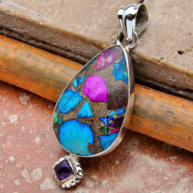 Rainbow Copper Turquoise Gemstone Pendant - Sterling Silver