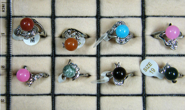 RESELLERS  DEAL EIGHT MIXED  GEMSTONE RINGS  AAT 737