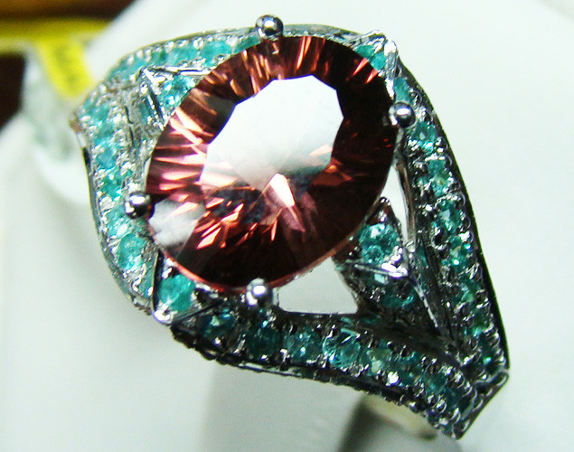 PARAIBA RING BEAUTIFUL DESIGN 18K WHITE GOLD  24CTS D-13