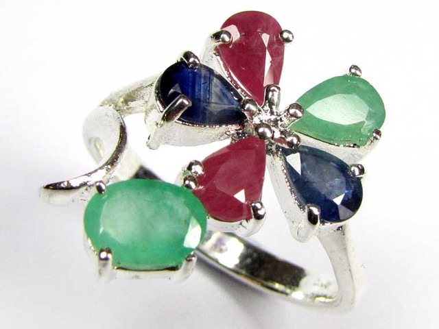 STUNNING RUBIES,EMERALD AND SAPPHIRE 10 1/5 RING  SIZE 90679