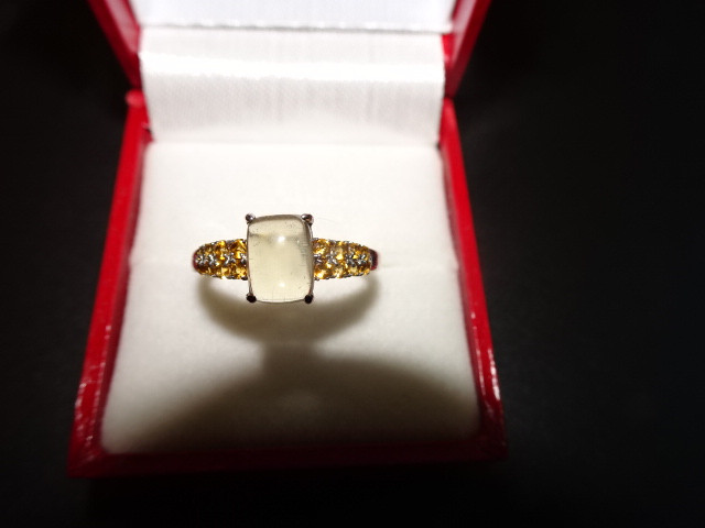 NEW! 1.74 CTW OF CITRINES/QUARTZ RING IN 14K WHITE GOLD
