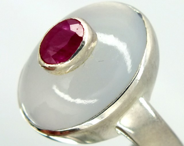 RUBY SILVER RING 38.95  CTS  SIZE- 9.25   RJ-283