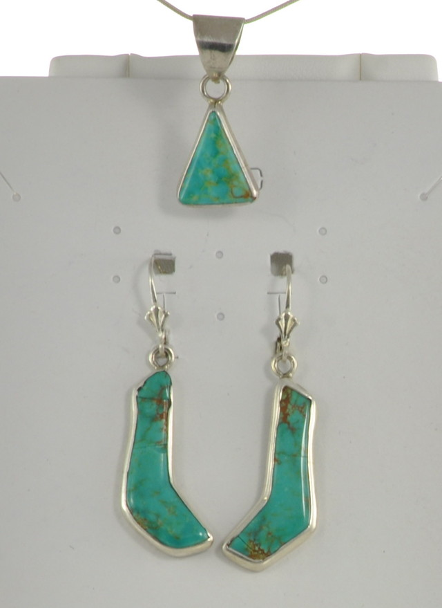 SALE!! Turquoise Earrings w/Pendant - JA-41