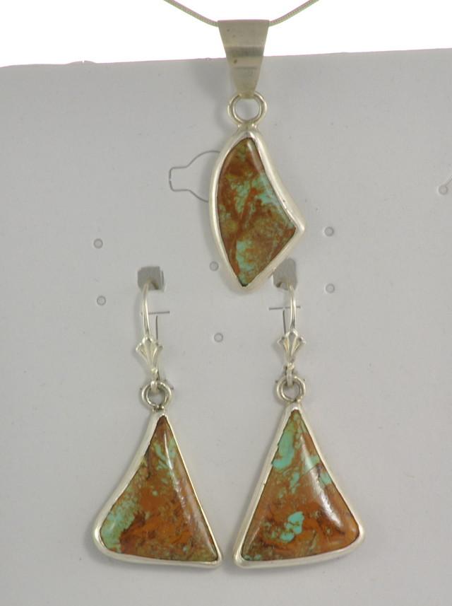 SALE!! Turquoise Earrings w/Pendant - JA-40