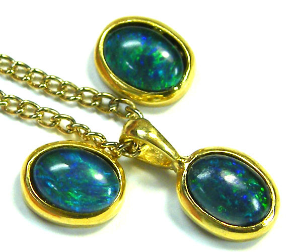 7x5 MM  TRIPLET SET  EARRINGS AND PENDANT  SCA1989