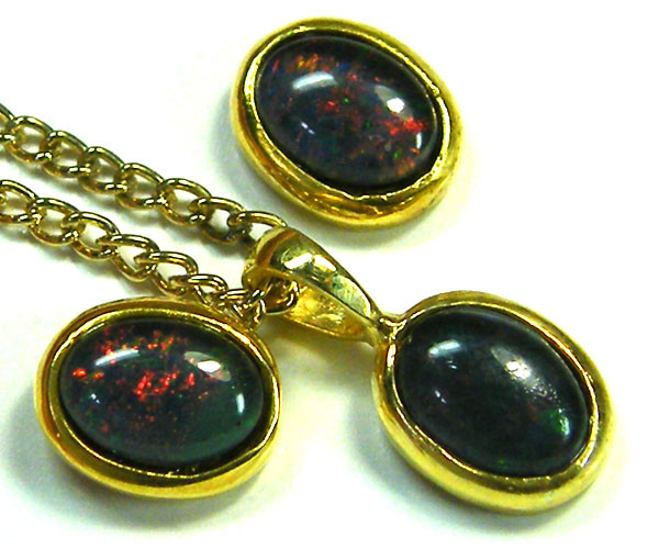 7x5 MM  TRIPLET SET  EARRINGS AND PENDANT  SCA1996