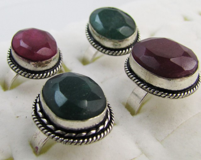 Parcel deal   Ruby-Emerald Quartz  Rings   MJA 1199