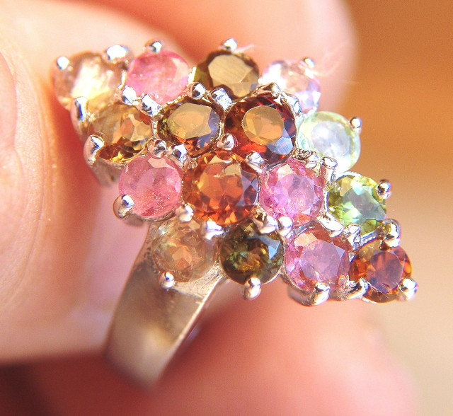 Multi Colored Tourmalines - Sterling Silver Ring, SZ 7