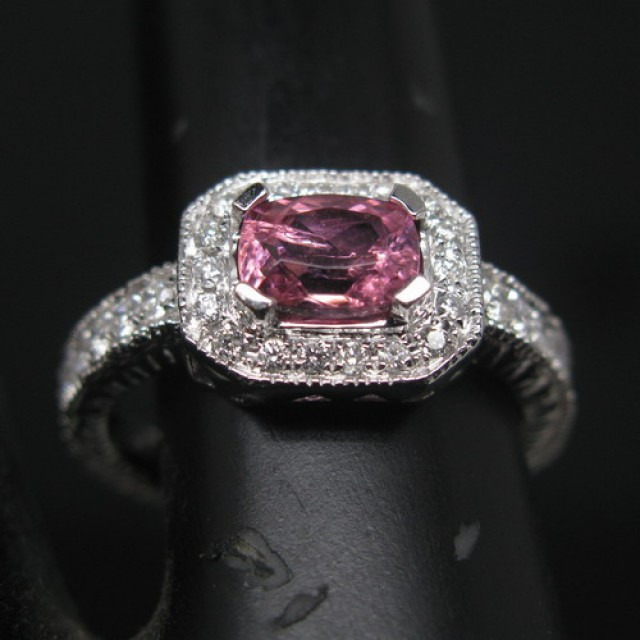 SOLID 14K WHITE GOLD NATURAL PINK TOURMALINE & DIAMOND WEDDING RING R00