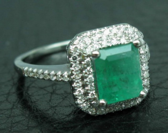 2.06ct Solid 14K White Gold Natural Gorgeous Green Emerald & Diamon