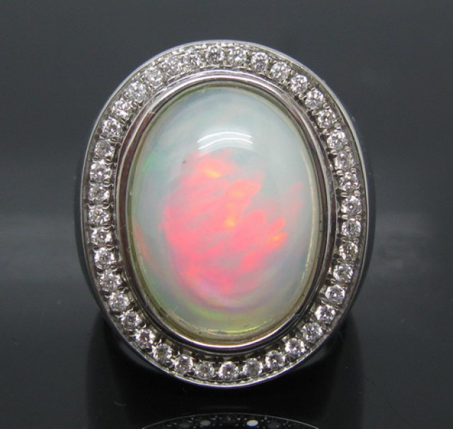 Solid 18Kt White Gold Natural Colorful Opal & Full Cut Diamond Wedding