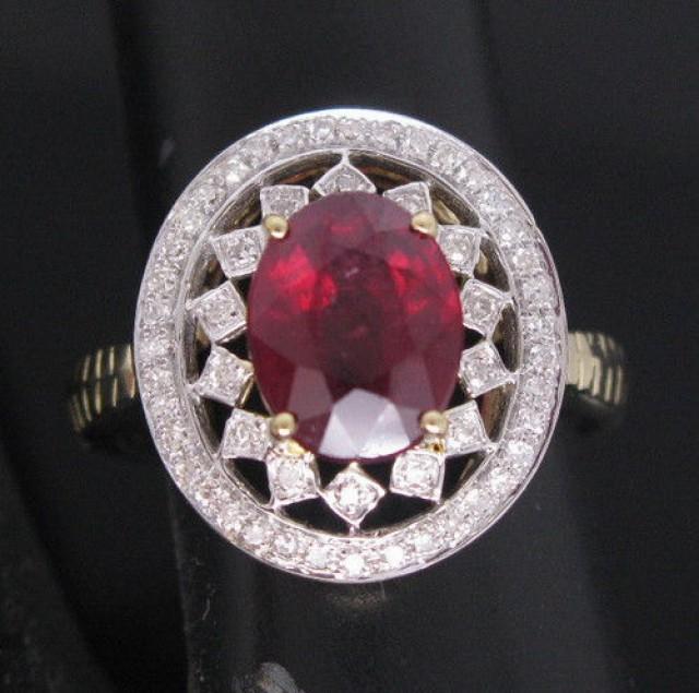 2-71CT-SOLID-14K-585-Yellow-Gold-Beautiful-Blood-Ruby-Diamond-WEDDING-Ring-