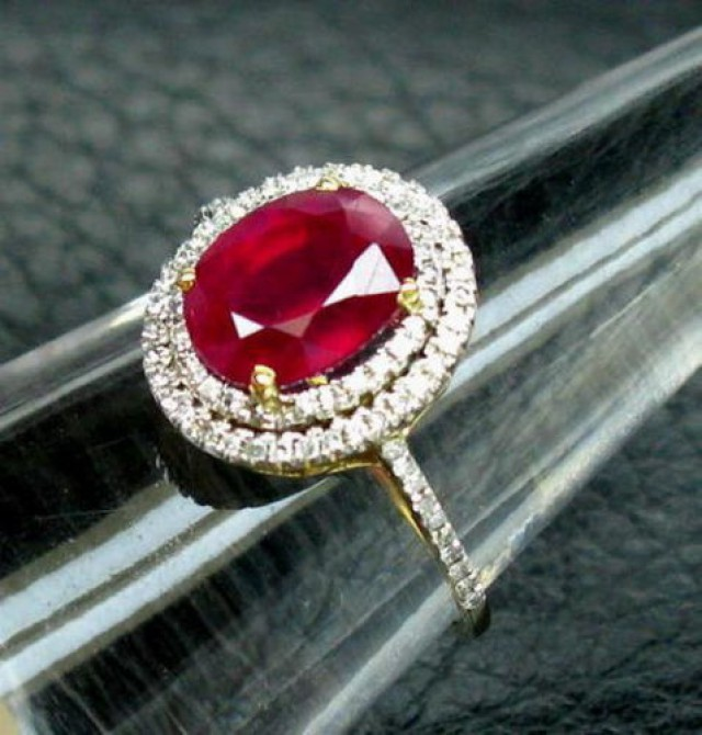 New Beautiful! 5.18CT SOLID 14K YELLOW Gold Blood Ruby Diamond Ring R0014