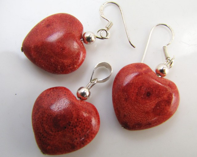 46CTS Heart Coral Sheppard   Earrings -Pendant MJA 1043
